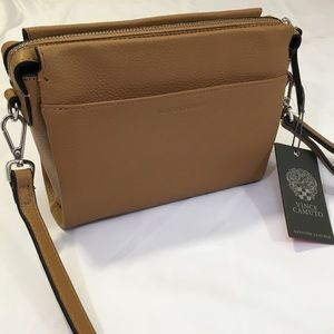 NWT Vince Camuto Tan Leather Crossbody Bag